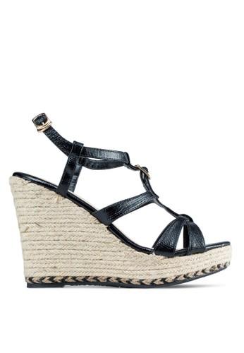 繞踝麻跟楔形涼鞋,esprit 內衣 女鞋, 楔形鞋