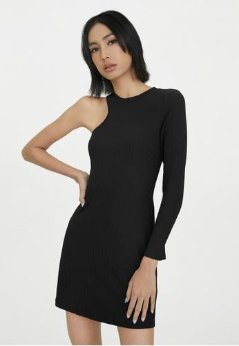 Pomelo black One Shoulder Rib Fitted Dress - Black 7D849AA5B1C7C0GS_1