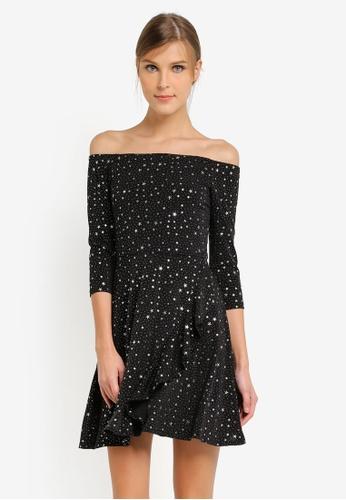 Miss Selfridge black and multi Star Print Bardot Dress MI665AA0SLEGMY_1