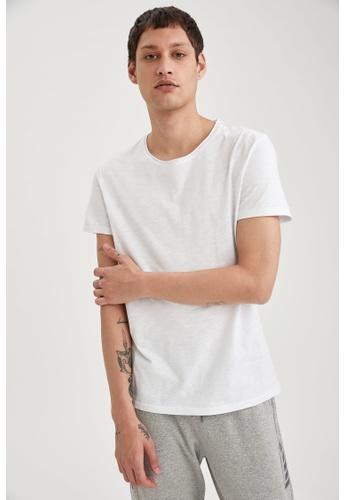 DeFacto white Man Knitted T-Shirt 54DFAAAC449178GS_1
