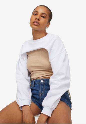 H&M white Cropped Sweatshirt D2EBDAAF42C1C0GS_1