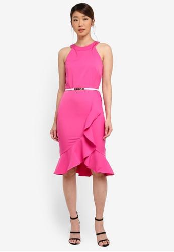 Paper Dolls pink High Neck Ruffle Dress With Cream Belt A3556AA14CDB54GS_1