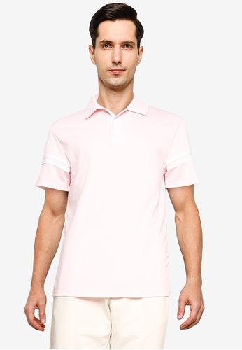 ZALORA BASICS pink Contrast Stripe Polo Shirt DAEBEAABC48C64GS_1