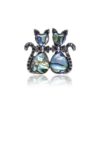 Glamorousky black Fashion Cute Blue Double Cat Shell Brooch with Cubic Zirconia 9211EACD592BB3GS_1