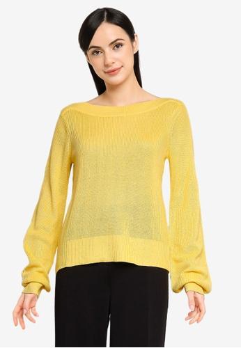 Vero Moda yellow Newlexsun Long Sleeves Boatneck Pullover 1768CAAB66D441GS_1
