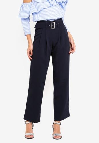 bYSI navy Pleated Peg Leg Trouser 40D86AA250B89FGS_1