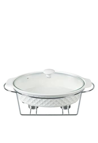 Slique white Premium Oval Casserole Dish 2 Burner 1.8L 8D8F4HL2FBA47DGS_1