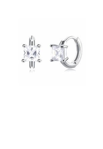 Glamorousky white 925 Sterling Silver Fashion Simple Geometric Square Cubic Zircon Stud Earrings 5F175AC65ECAADGS_1
