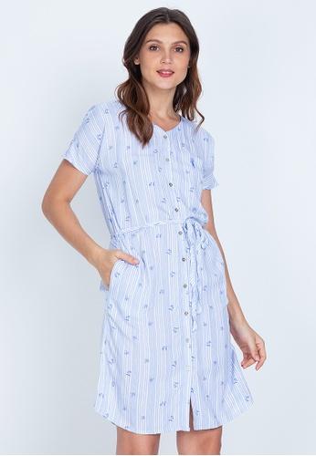Bossini Ladies white Woven Printed Rayon Short Sleeve Dress 3D72BAA57D7F93GS_1