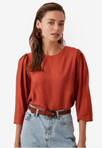 Trendyol orange Pleated Shoulder Detail Top 260DDAA511350DGS_1
