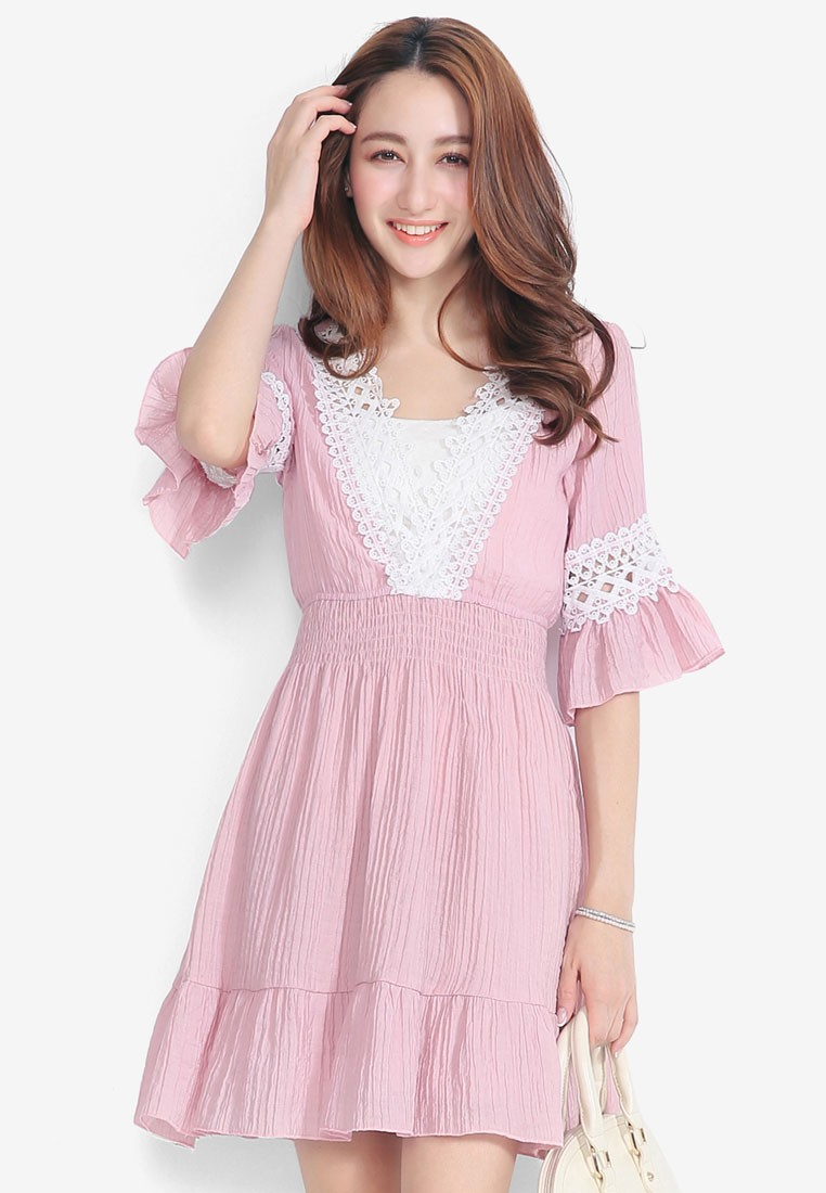 V-Neck Dress With Flared Sleeves