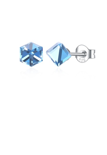 Glamorousky blue 925 Sterling Silver Simple Geometric Square Blue Austrian Element Crystal Stud Earrings D86ABAC41F3837GS_1