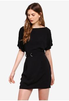 b89bb447c097e Boohoo black Petite Turn Up Sleeve Waist Woven Shift Dress  5BC03AA5026B6DGS_1