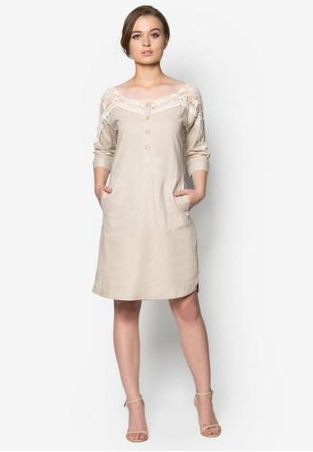 蕾絲拼接五分袖連身裙, 服飾, zalora 心得 ptt洋裝