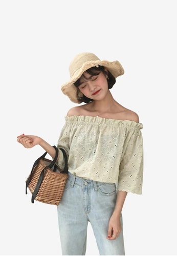 hk-ehunter green Women Embroidery Off Shoulder Blouse Top BC985AA517DC75GS_1