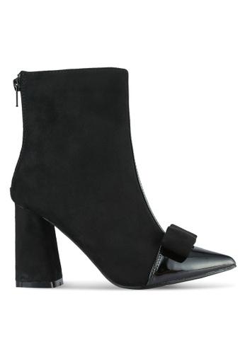 Velvet black Grosgrain Bow Ankle Boots C257FSHB5561A4GS_1