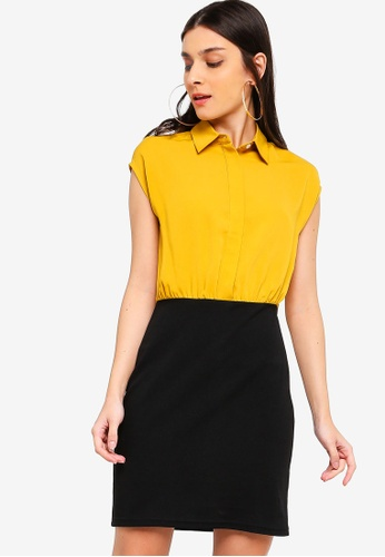 ZALORA black and yellow Shirt Dress With Bodycon Skirt 10349AA04359AEGS_1