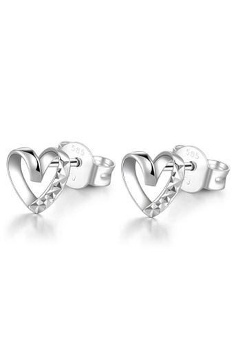 MaBelle silver 14K White Gold Heart Stud Earrings 0A845AC848942EGS_1