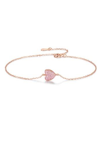 SUNRAIS High-quality Silver S925 rose gold heart-shaped bracelet 97912AC4BF13A3GS_1