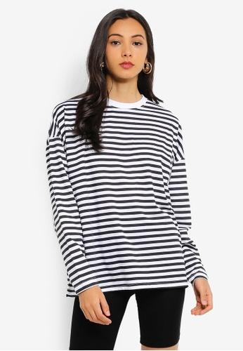 62cbd59259 Buy MISSGUIDED Stripe Drop Shoulder Long Sleeve T Shirt Online on ZALORA  Singapore