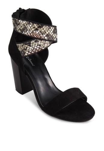 蛇紋交esprit分店叉踝帶粗跟涼鞋, 女鞋, 細帶高跟鞋