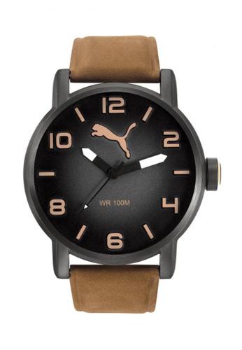 Puma brown Puma Gradient Gunmetal/Brown Leather Watch PU440AC99CVCSG_1