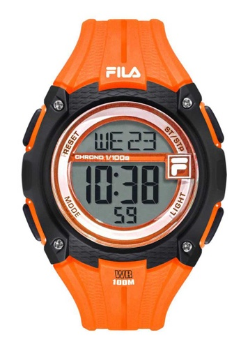 FILA Watches orange Fila Digital Black and Orange Rubber Watch 8670AAC8F626B6GS_1
