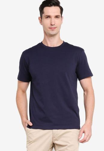 ZALORA BASICS 海軍藍色 Drop Sleeve Contrast Stitch T-shirt 6D2B0AA95C5735GS_1