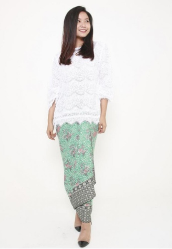 Naphthys Collection black and white and green and multi Batik Skirt/Sarong E0883AA6818512GS_1