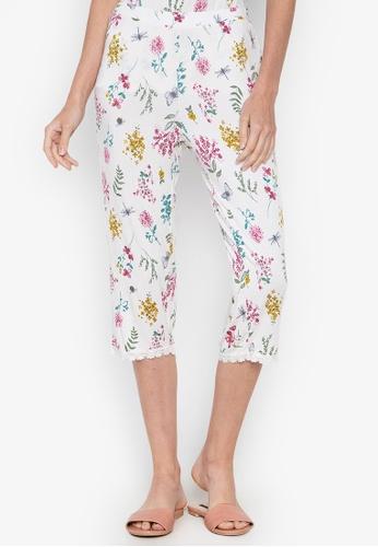 DEBENHAMS white Lounge & Sleep - Gardens Floral Crop Pant F06ABAA771A44DGS_1
