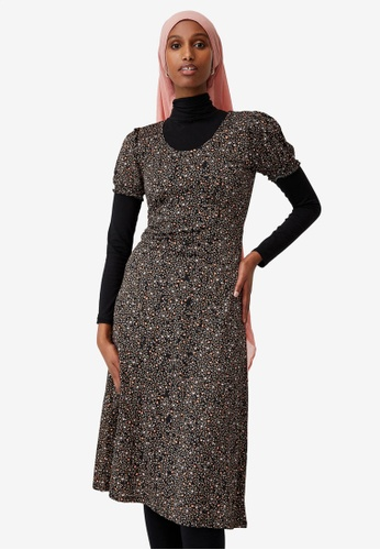 Cotton On black Elina Short Sleeve Midi Dress 53D3FAAD1C4FD9GS_1