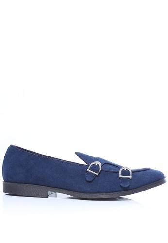 Zeve Shoes blue Zeve Shoes Belgian Loafer - Navy Suede Double Monk Strap D97C5SH5264C9FGS_1