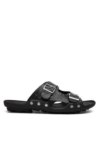 Twenty Eight Shoes black Embossed Cowhide Flip Flops VMS1018 77A8ESH80CBA61GS_1