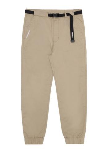 Fingercroxx beige Buckle belt pants EFB17AA2A0E14EGS_1