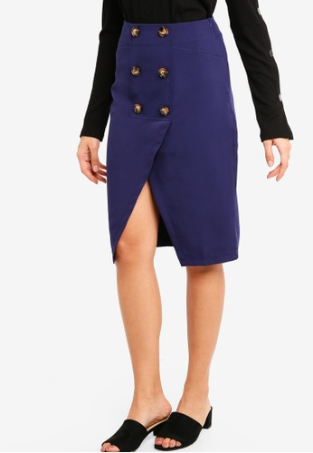 ZALORA navy Button Front Pencil Skirt F190EAAB1BEF71GS_1