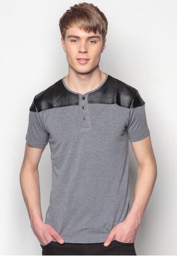 仿皮拼接短袖TEesprit地址E, 服飾, 素色T恤
