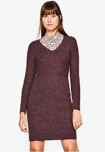 ESPRIT purple Flat Knitted Mini Dress ES374AA0RVBOMY_1