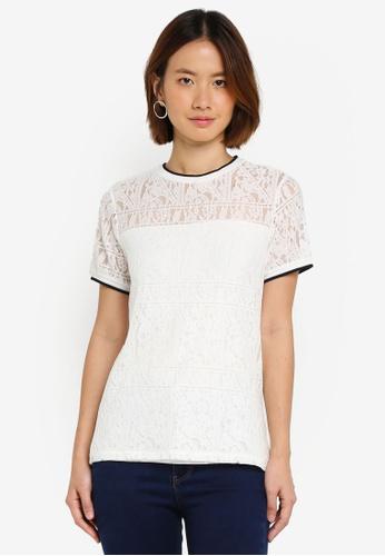 Dorothy Perkins white Ivory Rib Lace T-Shirt 903FFAA67F650FGS_1