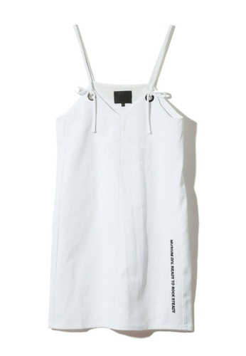 MUSIUM DIV white Slogan embroidered self-tie slip dress 5AF51AACC18725GS_1