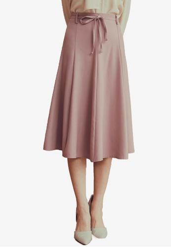 Yoco pink Plain Tie High Waist Cropped Culottes B971DAA0AA4801GS_1