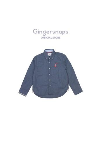 Gingersnaps blue Neo Japonique Woven Shirt Dk Blue 436D4KAE41AC2AGS_1