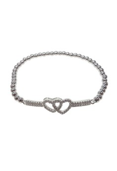 Beaded Crystal Linked Hearts Bracelet