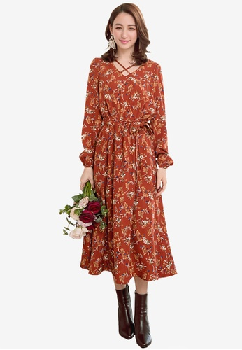 YOCO brown Floral Cross Front Dress F1E99AAC51F47FGS_1