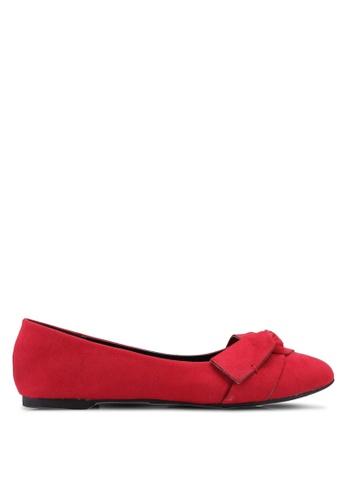 Bata 紅色 麂皮蝴蝶結平底鞋 D0C0DSH1A41F4BGS_1
