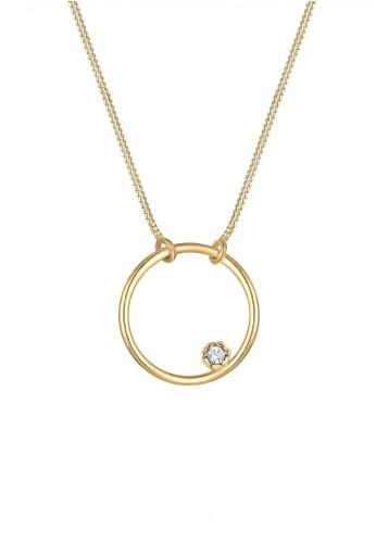 Elli Germany gold Perhiasan Wanita Perak Asli - Silver Kalung Basic Circle Crystal Gold Plated CFC05AC33E8288GS_1