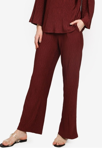 Zalia red Textured Tied Front Pants 05E03AA5BBA695GS_1