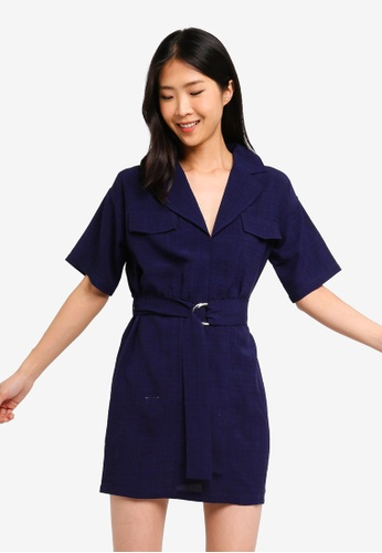 ZALORA BASICS navy Basic Lapel Collar Dress 84D96AACD5B8B7GS_1