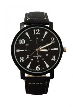New Quartz 24 Hours Dial Leather Watch