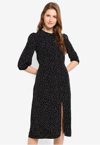 Miss Selfridge black Black Spot Split Midi Dress 0C5C8AA57ABD34GS_1