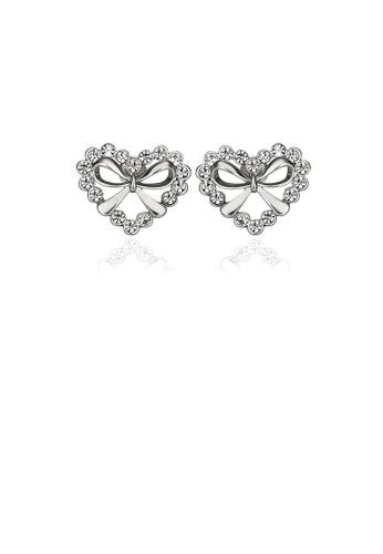 Glamorousky white Simple Heart Stud Earrings with Austrian Element Crystal 9E8FDACF462322GS_1